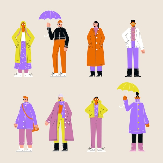 People wearing autumn clothes Free Vector