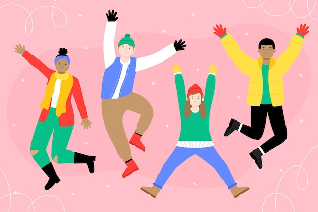 People wearing colorful winter clothes Free Vector