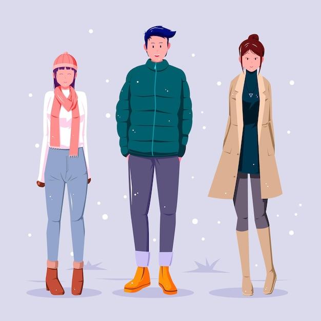 居心地の良い冬服を着ている人 Premiumベクター