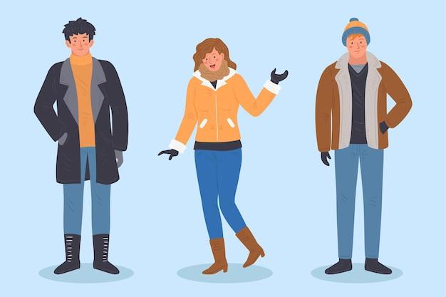 居心地の良い冬服を着ている人 無料ベクター