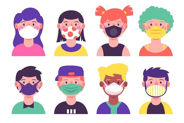 Люди, носящие разные типы маски для лица Бесплатные векторы