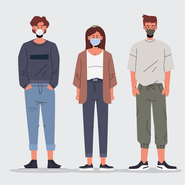 People wearing different face mask types Free Vector