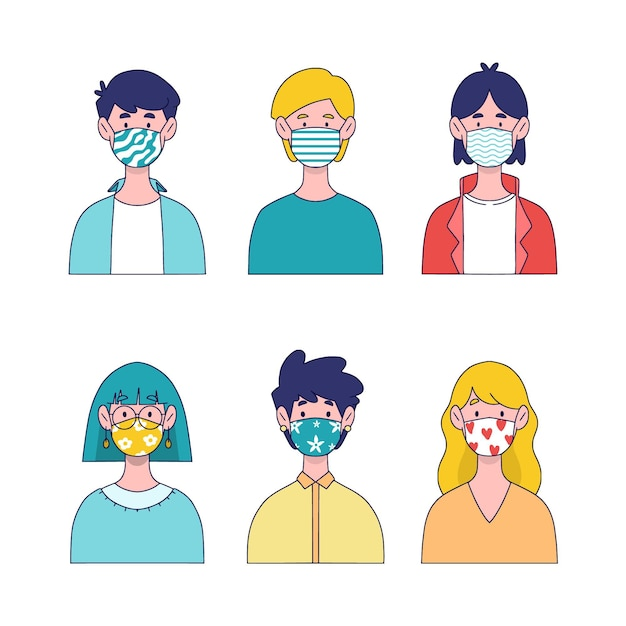 People wearing fabric face masks concept Free Vector