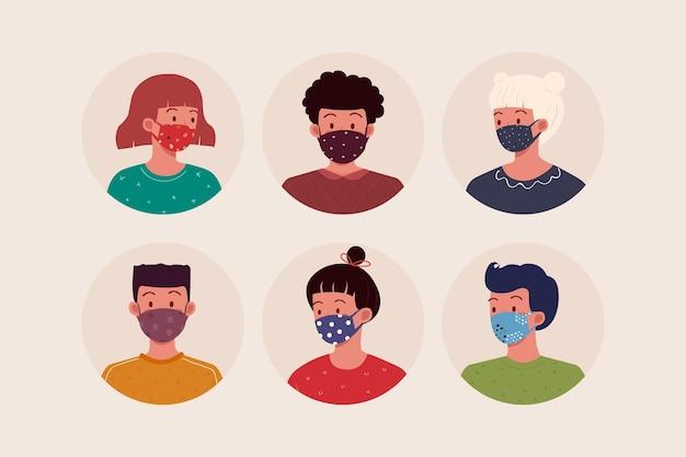 직물 얼굴 마스크를 착용하는 사람들 무료 벡터