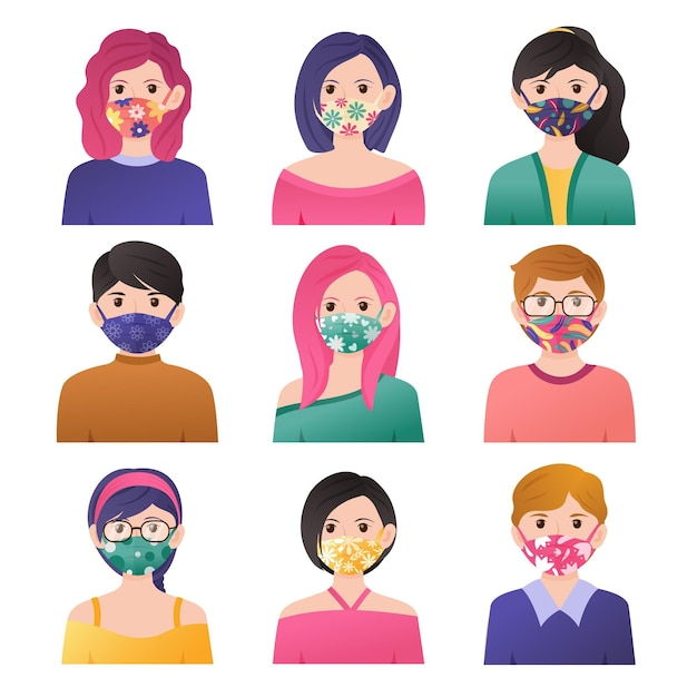 People wearing fabric face masks Premium Vector