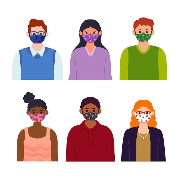 布製のフェイスマスクを着ている人 無料ベクター