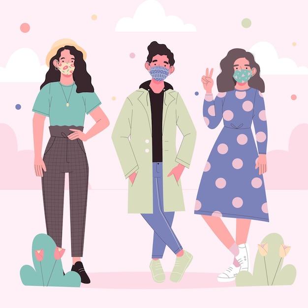 Люди, носящие тканевую маску и стоящие Бесплатные векторы