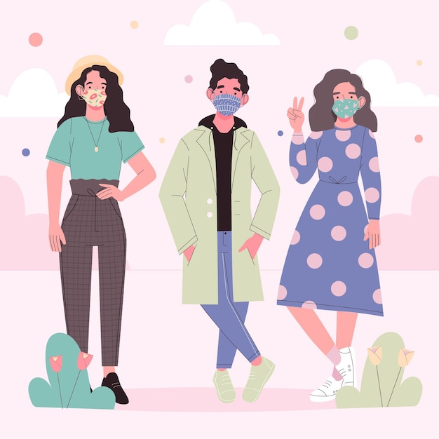 People wearing fabric mask and standing Free Vector