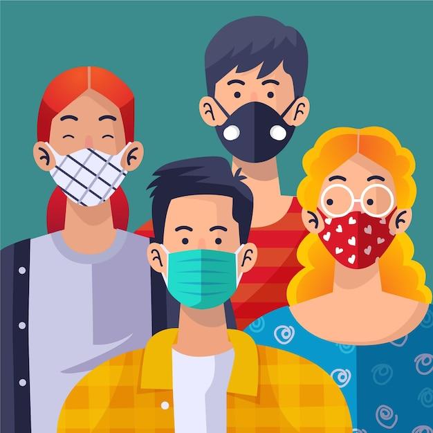 Люди в маске для лица | Бесплатно векторы