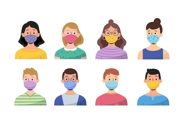 People wearing face masks Premium Vector