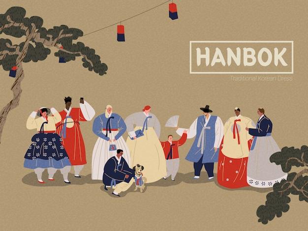 People wearing korean traditional clothing Premium Vector