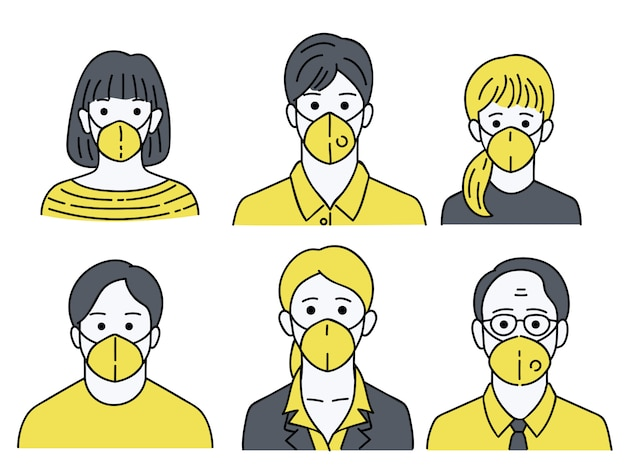 People wearing mask protection Premium Vector