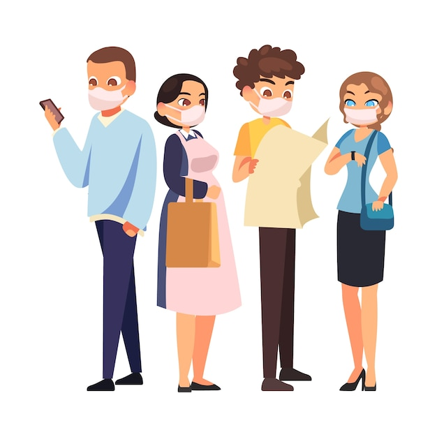 People wearing medical mask and doing activities Free Vector