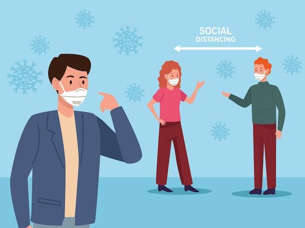 의료 마스크와 사회적 거리 화살표를 착용하는 사람들 프리미엄 벡터