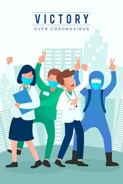 의료 마스크를 착용하는 사람들 무료 벡터