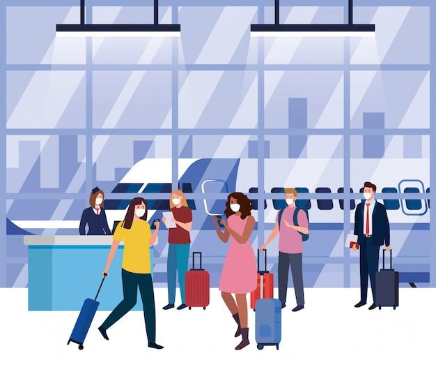 空港ターミナルで医療用保護マスクを着用している人、コロナウイルスのパンデミック時に飛行機で旅行している人、予防covid 19 Premiumベクター