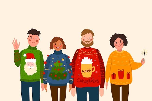 醜いセーターを着ている人 無料ベクター