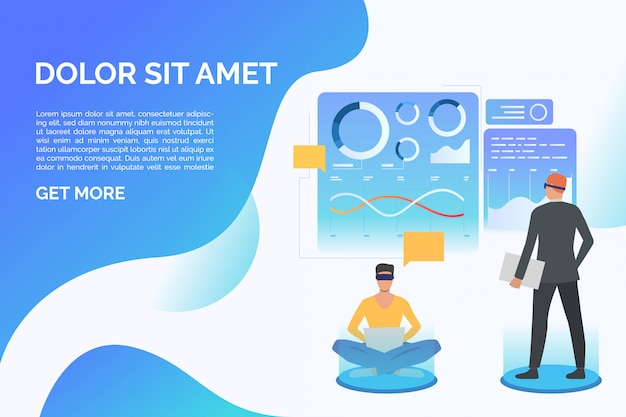 People wearing virtual reality glasses and working, sample text Free Vector