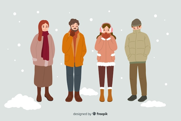 People wearing warm winter clothes Free Vector
