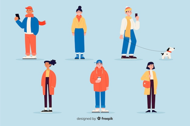 People wearing winter clothes flat design Free Vector