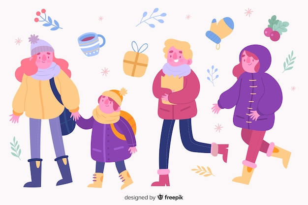People wearing winter clothes pack Free Vector