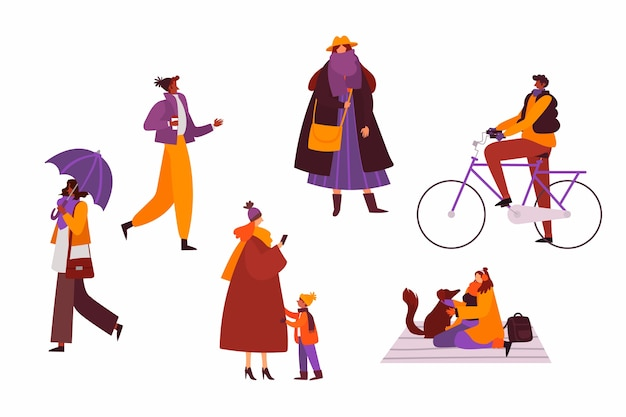 People wearing winter clothes set Free Vector