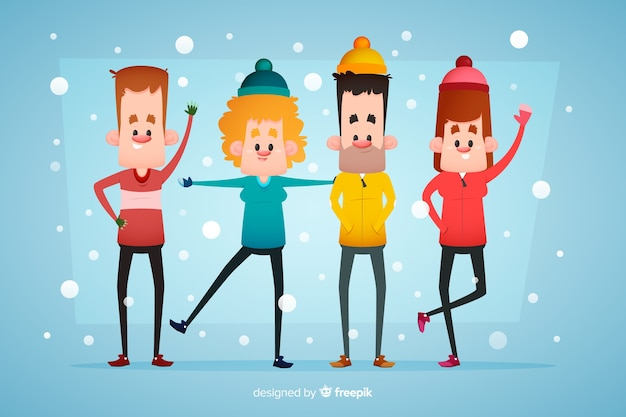 People wearing winter clothes and staying in the snow Free Vector