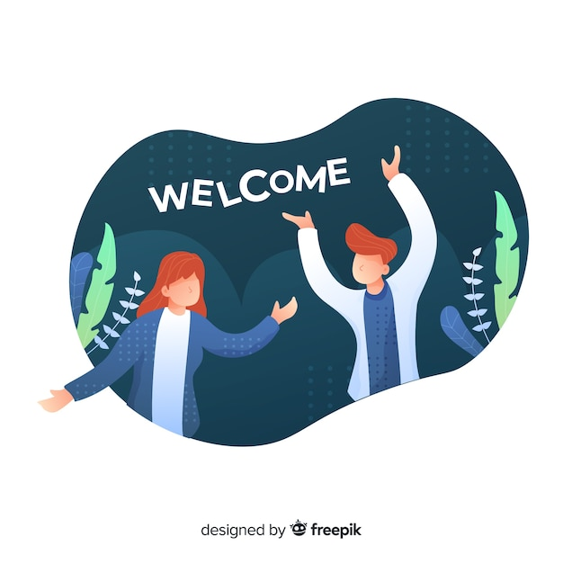 People welcoming concept with foliage in background Free Vector