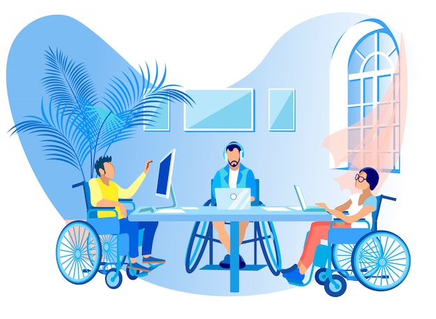 People in wheelchairs work online cartoon flat. Premium Vector