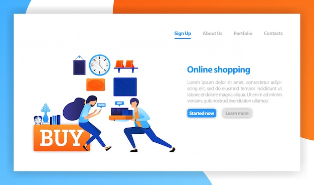 People who buy products online at home Premium Vector