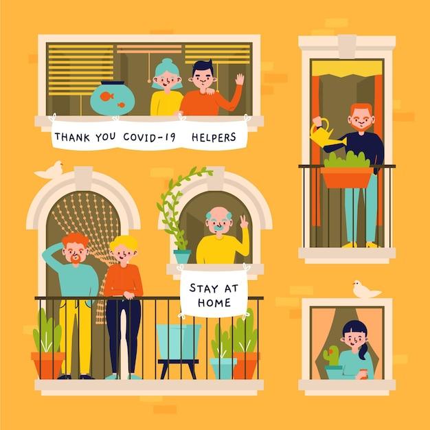 Persone su windows in quarantena Vettore gratuito