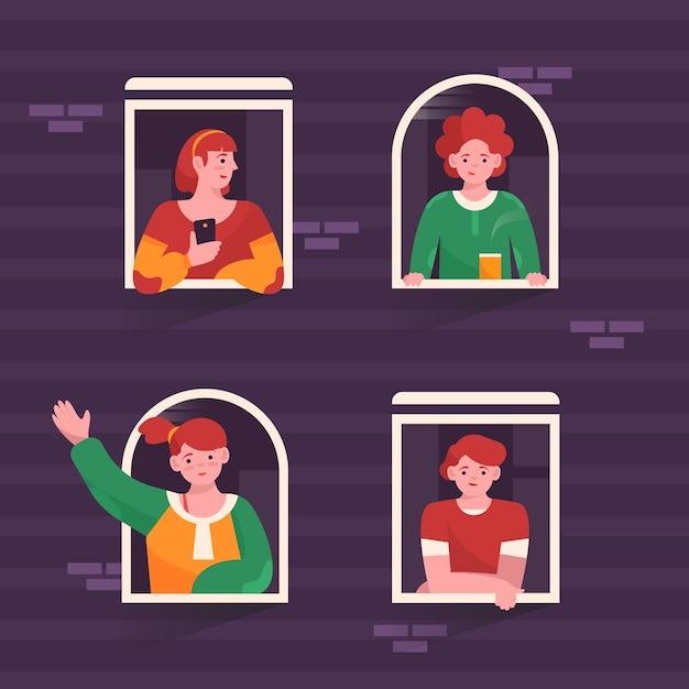 Le persone alle finestre trascorrono il loro tempo libero Vettore gratuito