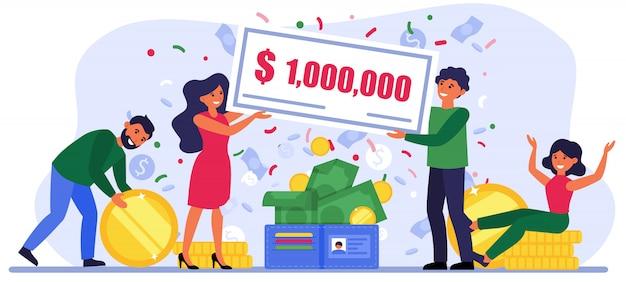 宝くじで100万ドル札を獲得した人 無料ベクター