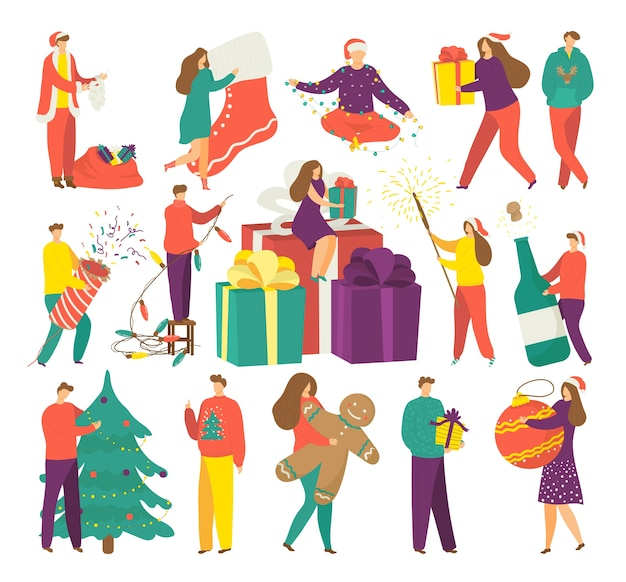 People on winter holidays, christmas season of gifts   illustrations set. man,woman and kids hold xmas gift. smiling happy girl on presents boxes. lights and presents. Premium Vector