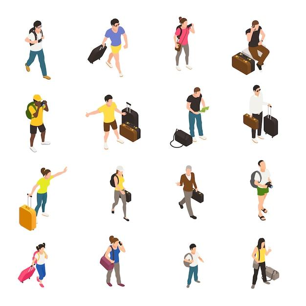여행하는 동안 수하물과 가제트가있는 사람들은 흰색 아이소 메트릭 아이콘 세트 무료 벡터