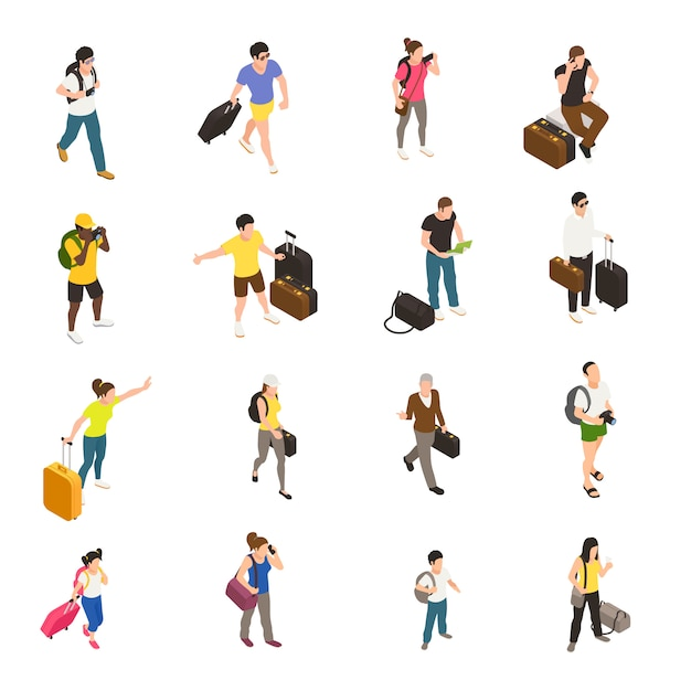 La gente con bagaglio e gli aggeggi durante il viaggio ha messo le icone isometriche su bianco Vettore gratuito