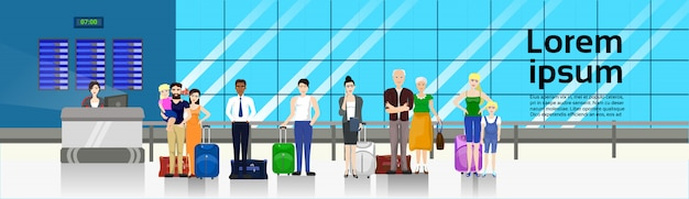 People with baggage standing in line to counter in airport for check in horizontal banner template Premium Vector