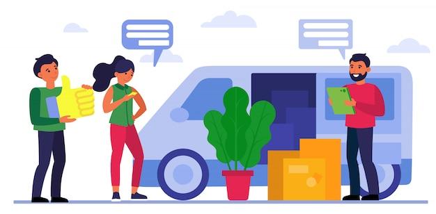 Люди с ящиками у движущегося грузовика Бесплатные векторы