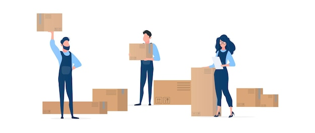 People with boxes. movers are holding cardboard boxes. the girl with the list in her hands. design element on the subject of delivery and moving. isolated. . Premium Vector