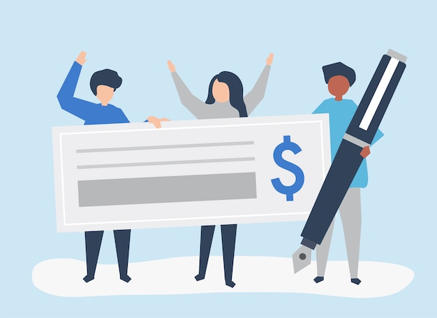 People with a cheque and a pen Free Vector