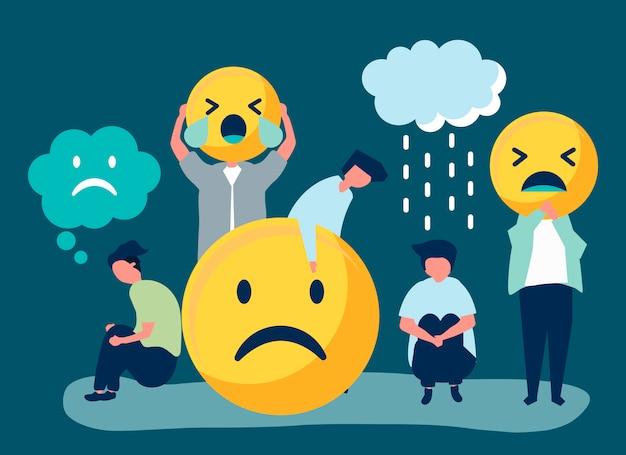 Le persone con depressione e infelicità Vettore gratuito
