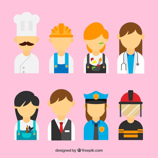 People with different jobs background in flat\ style
