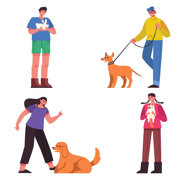 People with different pets illustration Free Vector