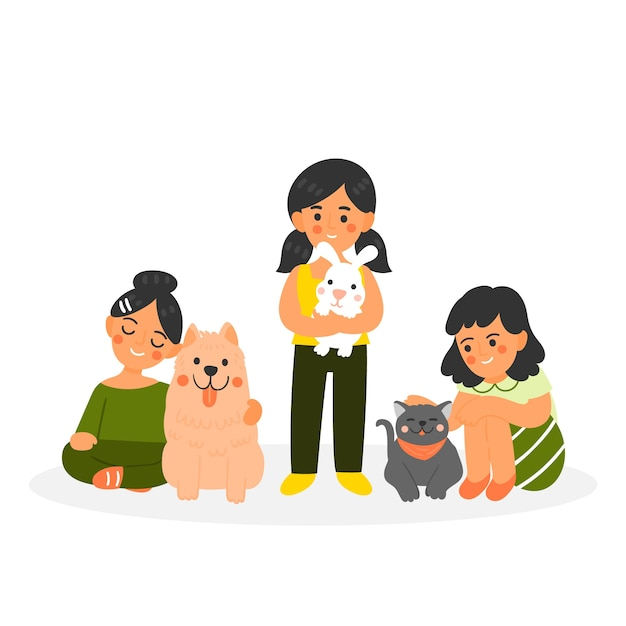 People with different pets on white background Free Vector