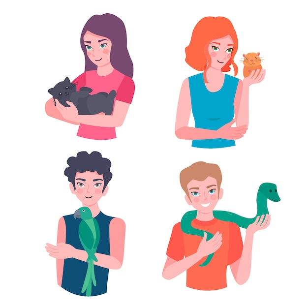 People with different pets Free Vector
