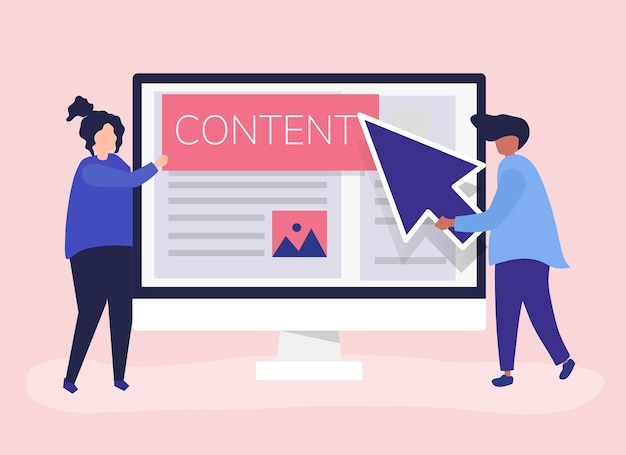 People with digital content creation concept Free Vector
