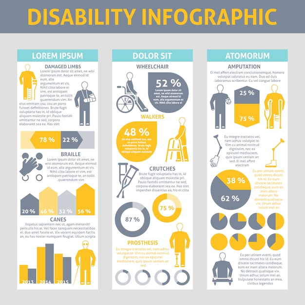 People with disabilities infographic set Free Vector