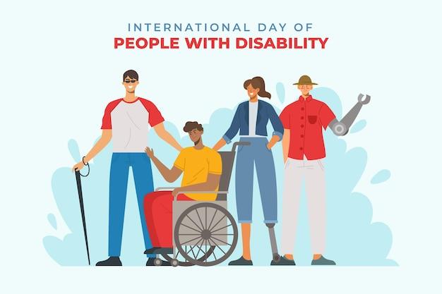 Люди с инвалидностью иллюстрации Бесплатные векторы