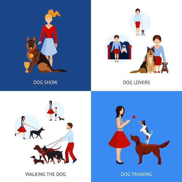 People with dogs set Free Vector