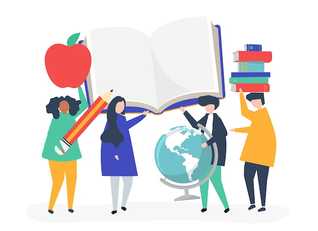 People with education related icons Free Vector